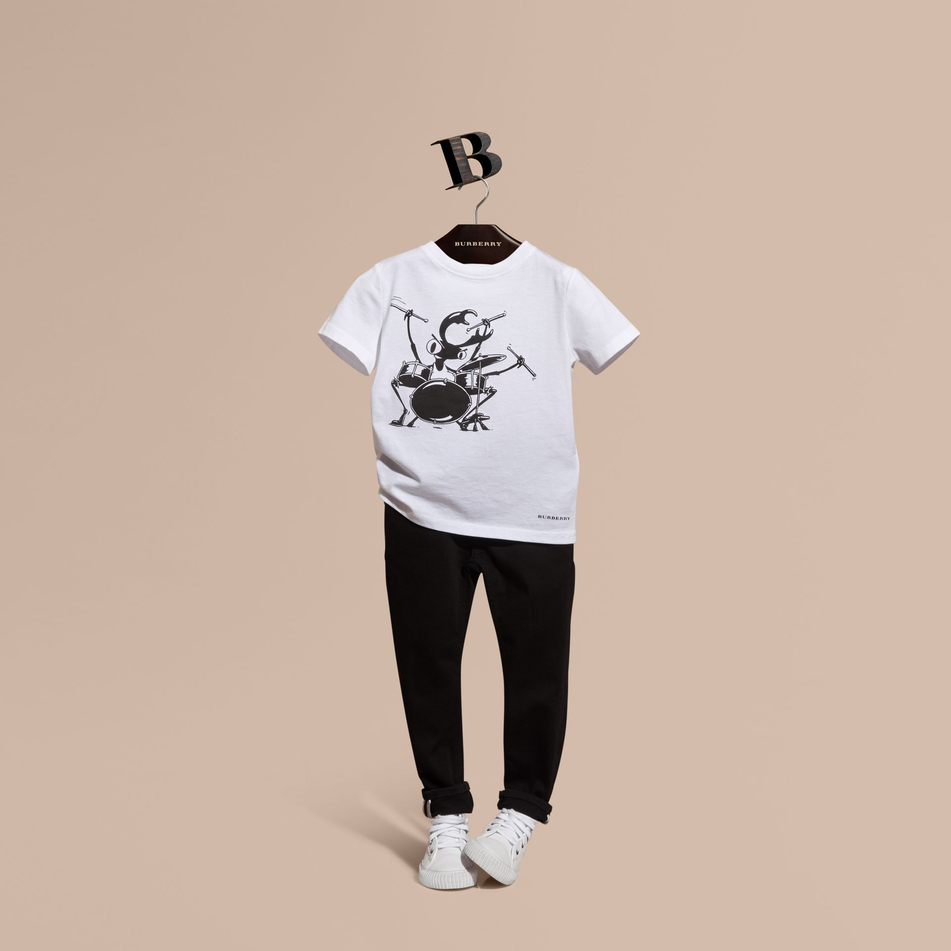 White Beetle Motif Cotton T-shirt - gallery image 1
