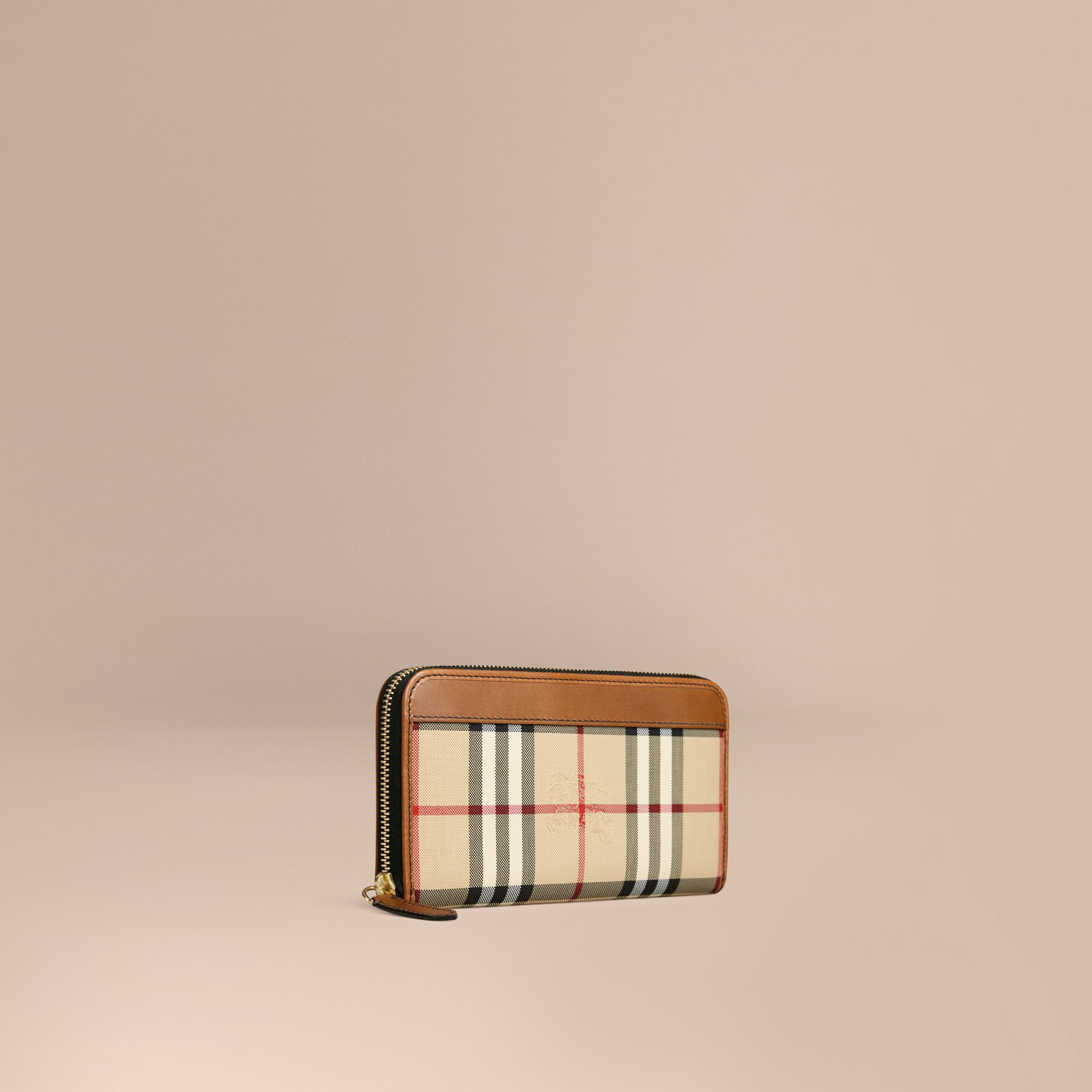 Tan Horseferry Check Ziparound Wallet Tan - gallery image 1