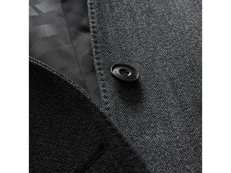 Modern Fit Wool Part-canvas Three-piece Suit in Charcoal - Men | Burberry Singapore - cell image 1