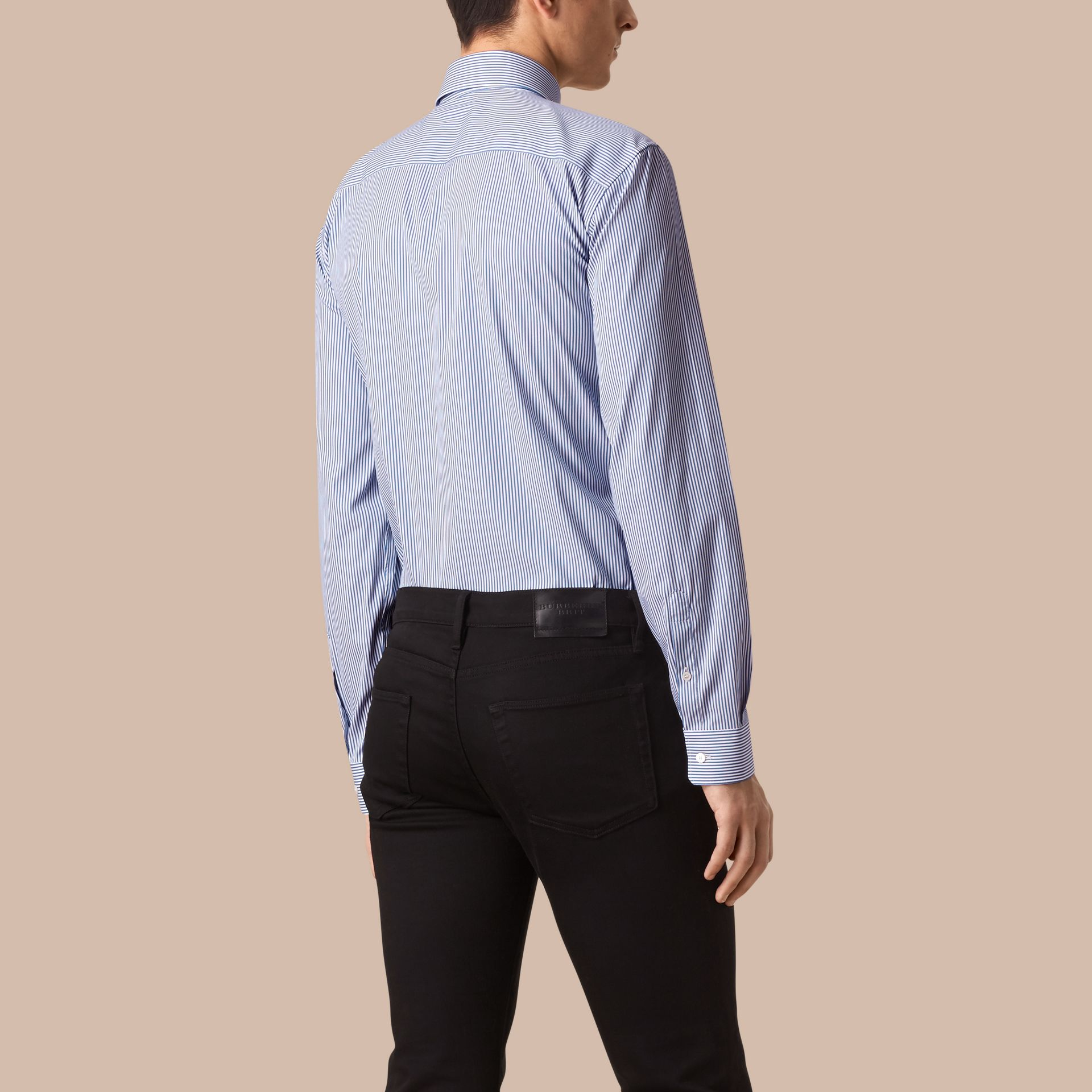 Mid blue Modern Fit Striped Stretch-cotton Shirt Mid Blue - gallery image 2