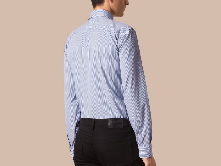 Blu medio Camicia moderna in cotone stretch a righe Blu Medio - cell image 1
