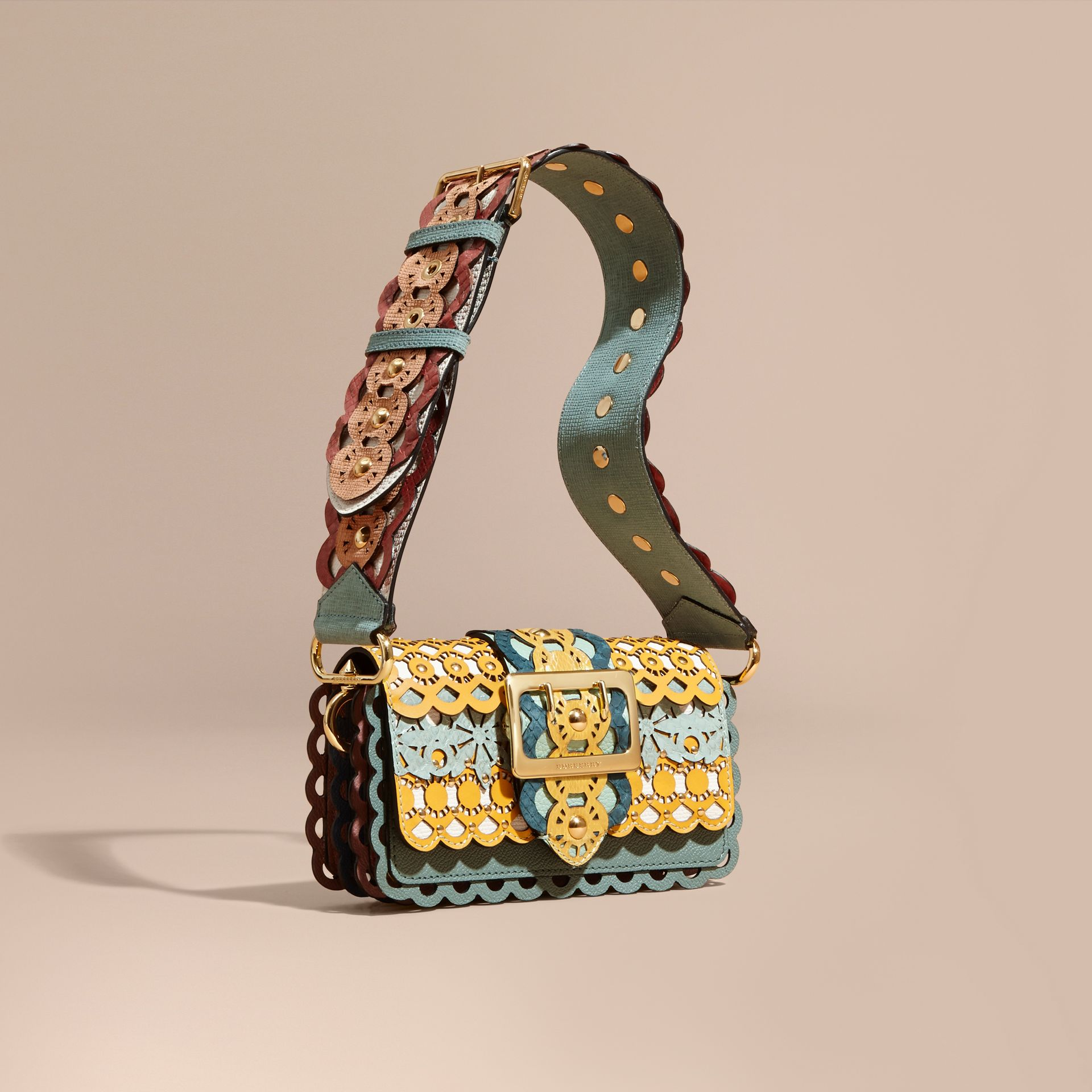 The Small Buckle Bag in Laser-cut Leather and Snakeskin - gallery image 1