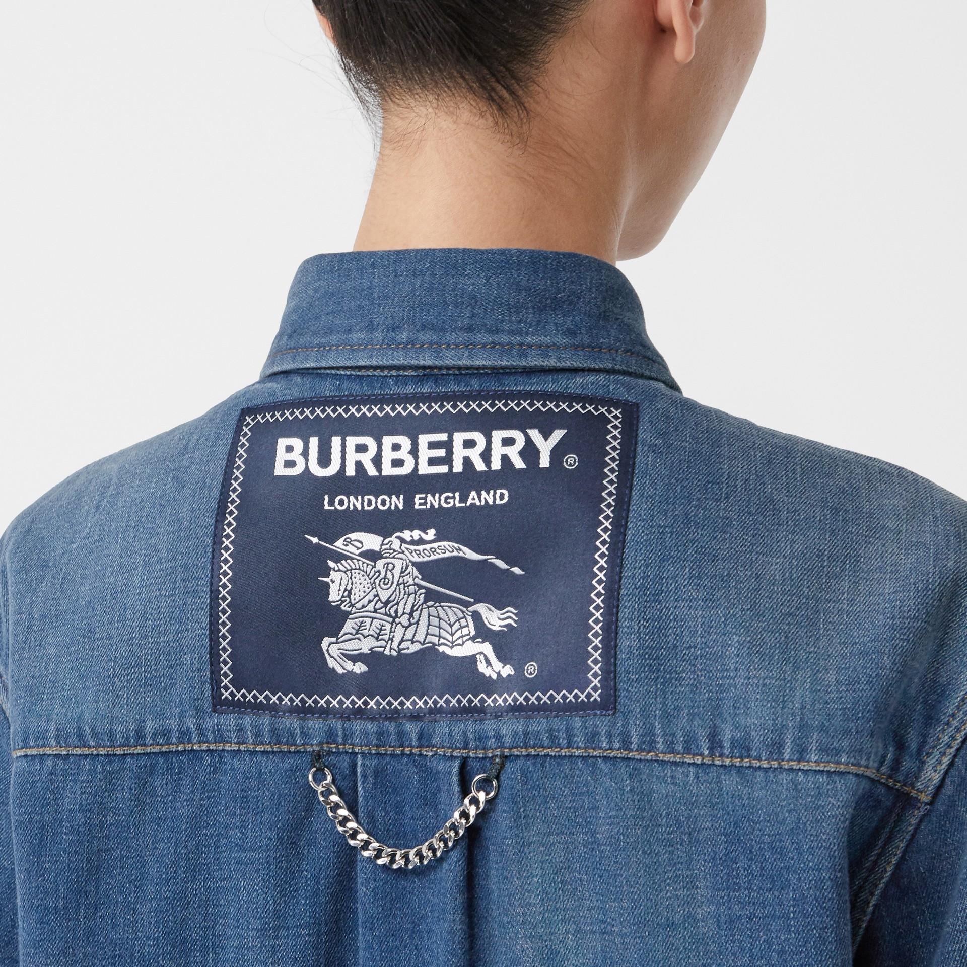 Logo Appliqué Denim Shirt in Indigo - Women | Burberry - gallery image 1