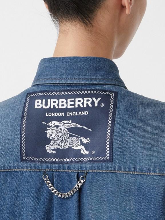 Logo Appliqué Denim Shirt in Indigo - Women | Burberry - cell image 1
