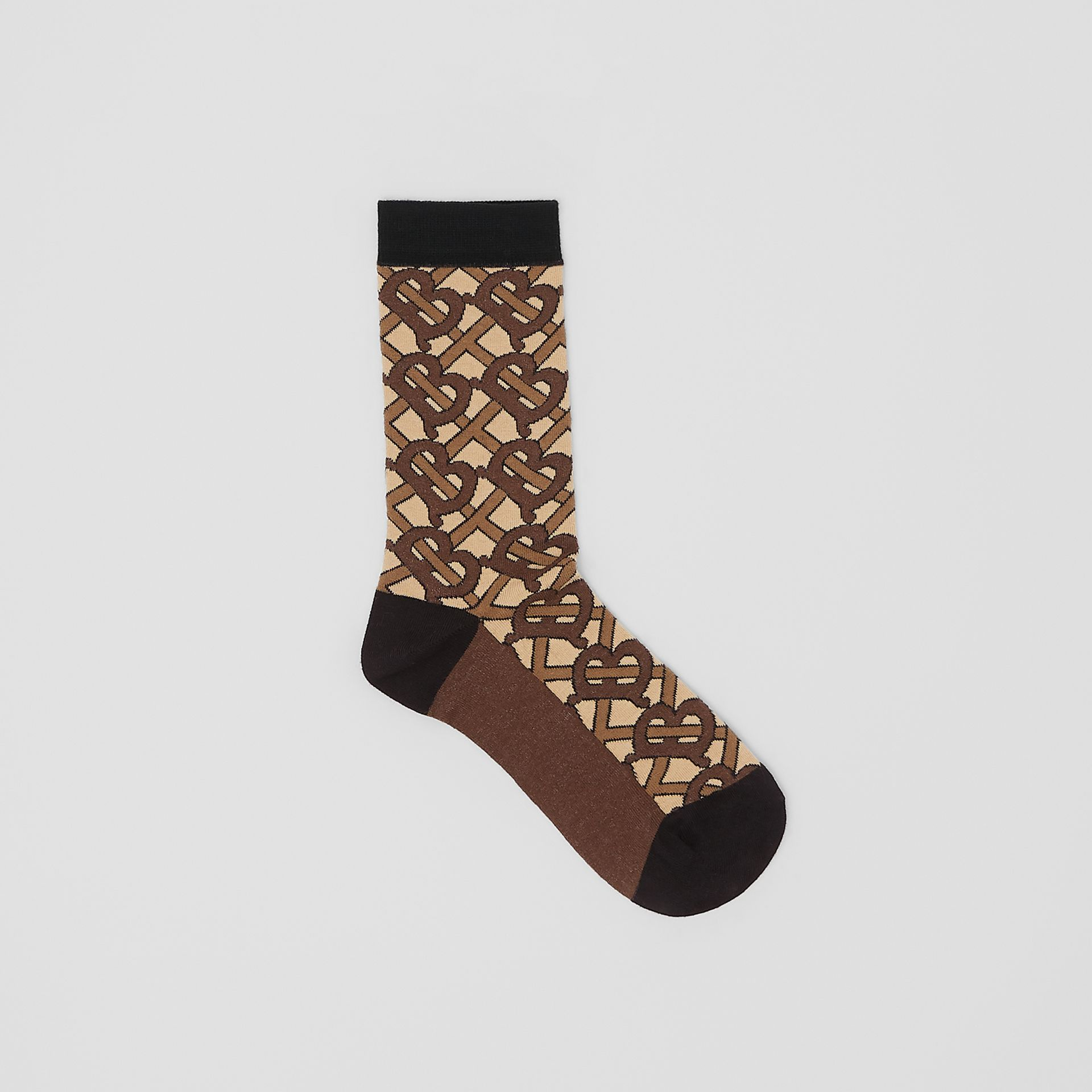 Monogram Intarsia Cotton Blend Socks in Bridle Brown | Burberry United Kingdom - gallery image 0