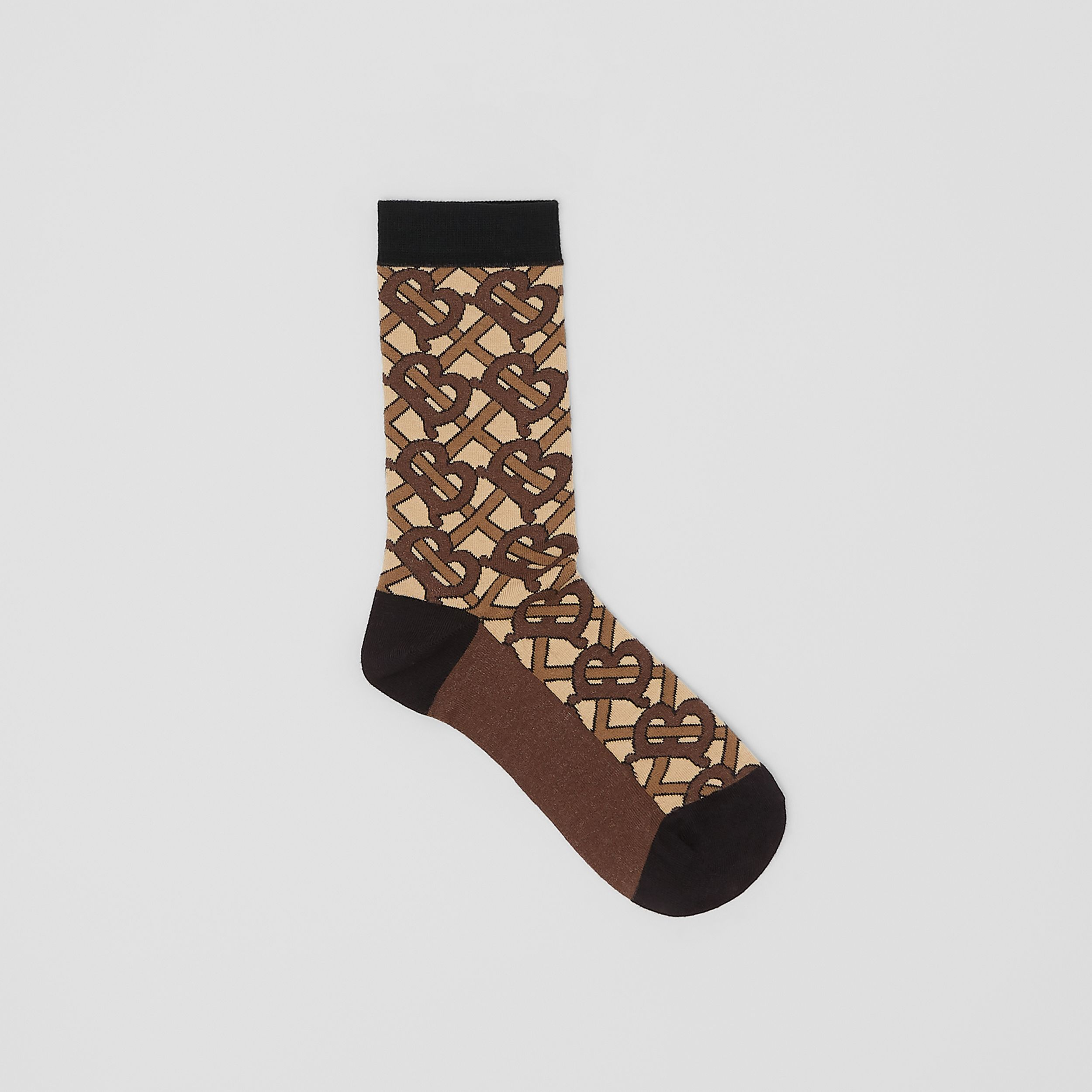 Monogram Intarsia Cotton Blend Socks in Bridle Brown | Burberry - 1