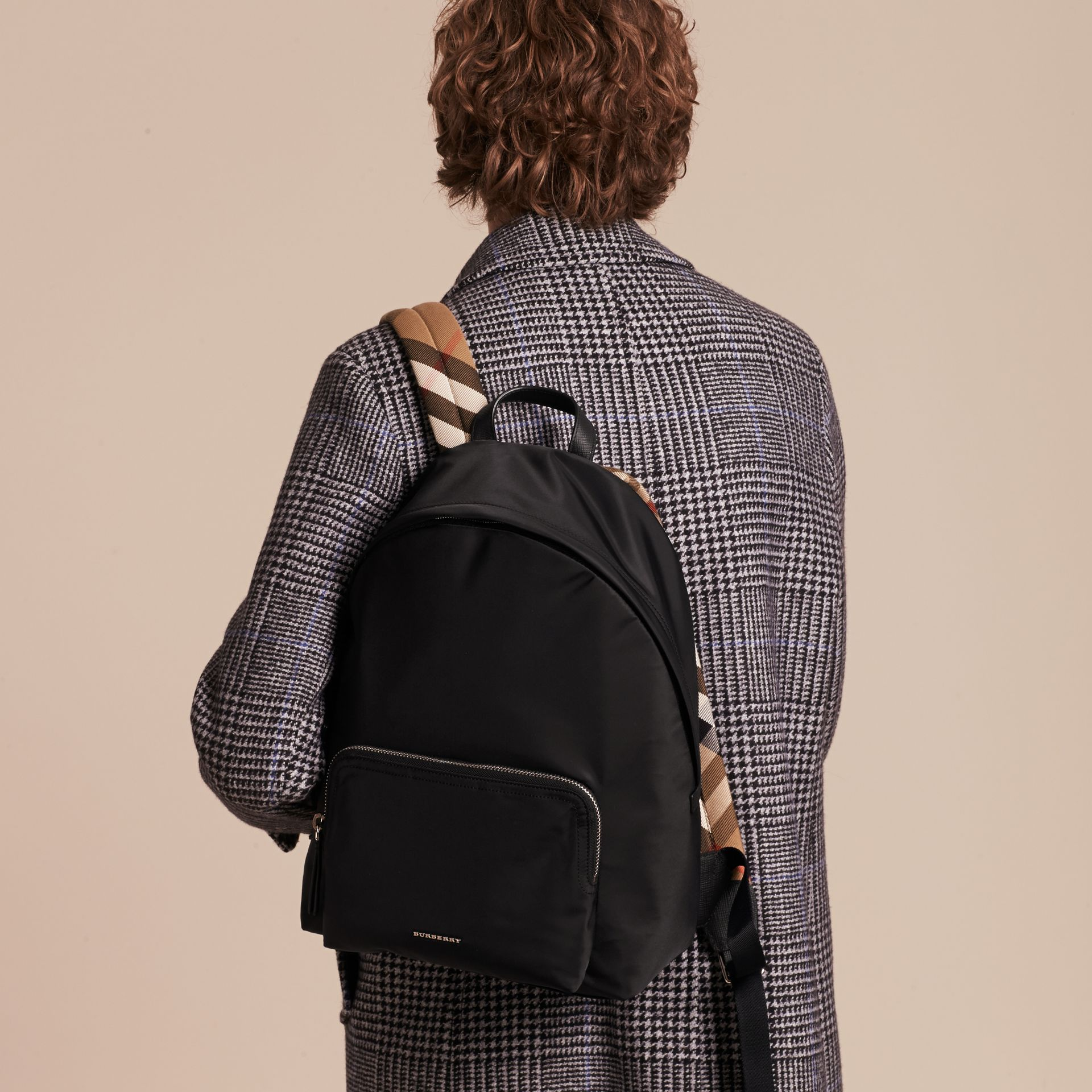 Black Leather Trim Nylon Backpack with Check Detail - gallery image 3