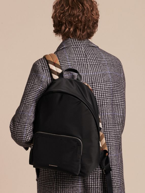 Black Leather Trim Nylon Backpack with Check Detail - cell image 2