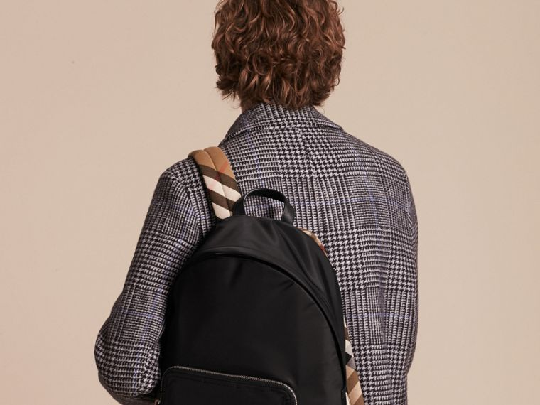 Leather Trim Nylon Backpack with Check Detail - Men | Burberry - cell image 1