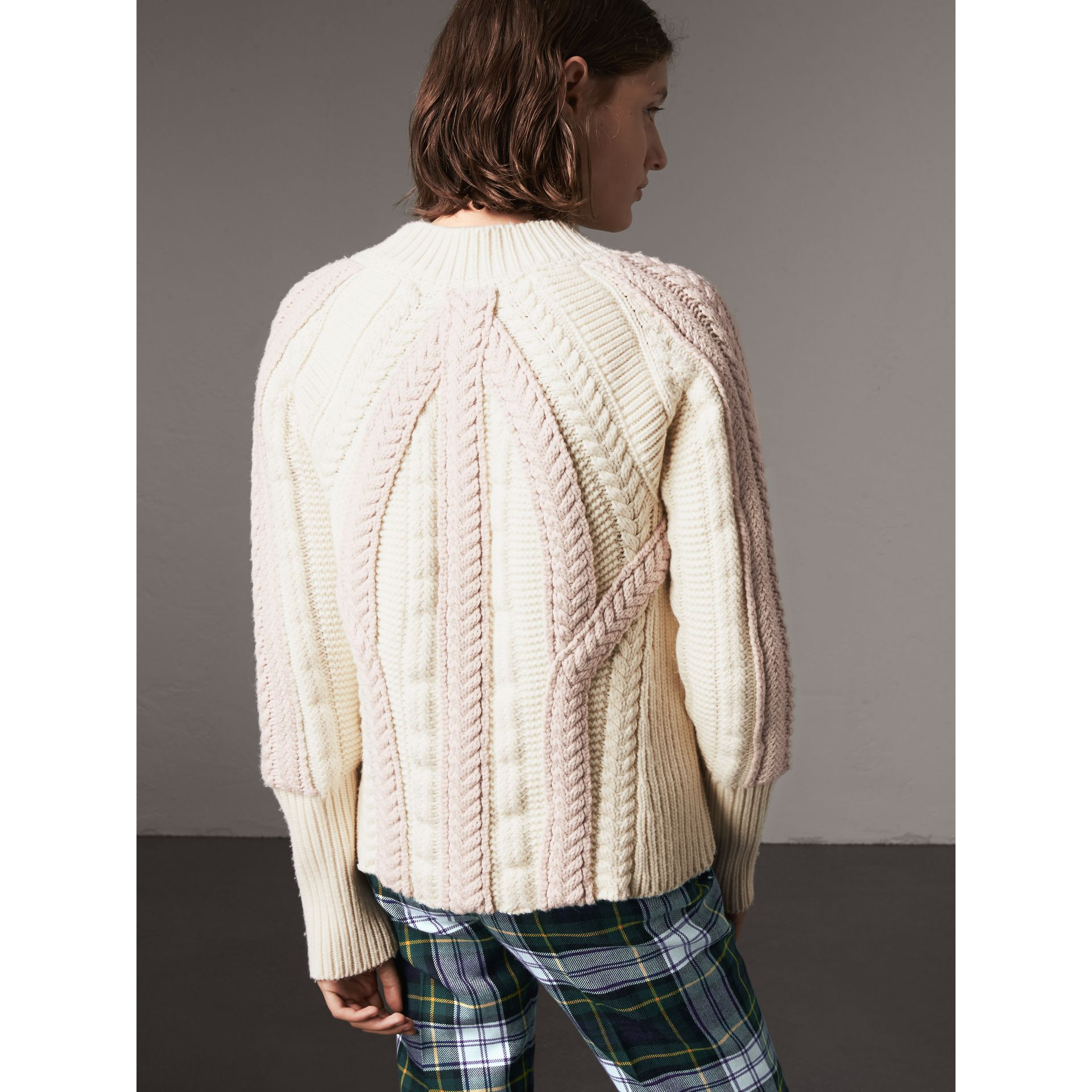 Two-tone Cable Knit Wool Cashmere Sweater in Natural White - Women | Burberry - gallery image 3