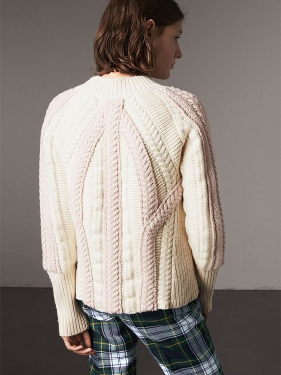 Two-tone Cable Knit Wool Cashmere Sweater in Natural White - Women | Burberry - cell image 2