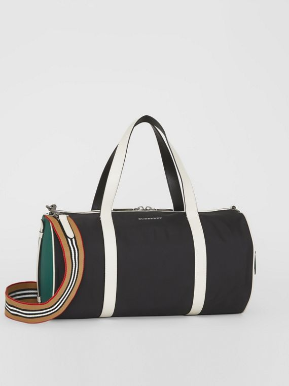 Borsa a cilindro media in pelle e nylon tricolore (Nero)