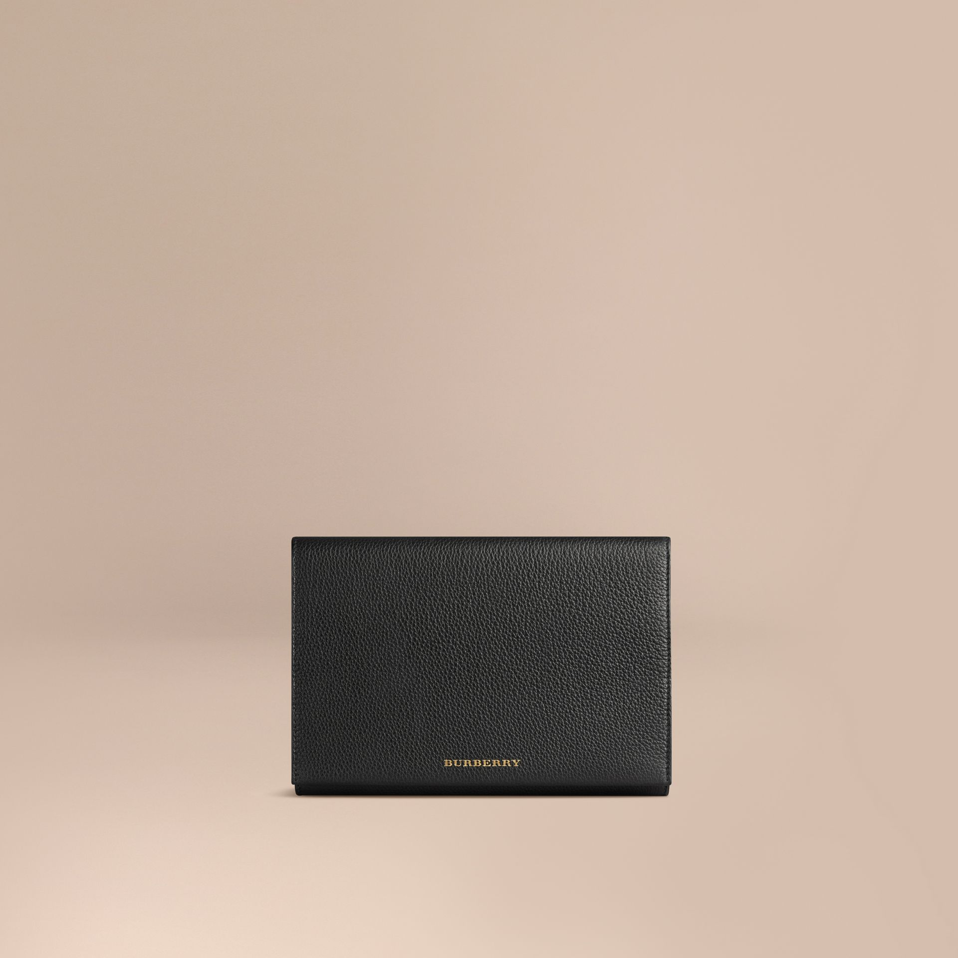 Grainy Leather Travel Wallet in Black | Burberry - gallery image 1