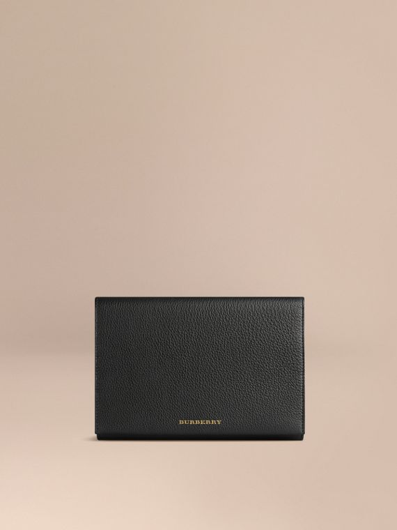 Grainy Leather Travel Wallet in Black | Burberry