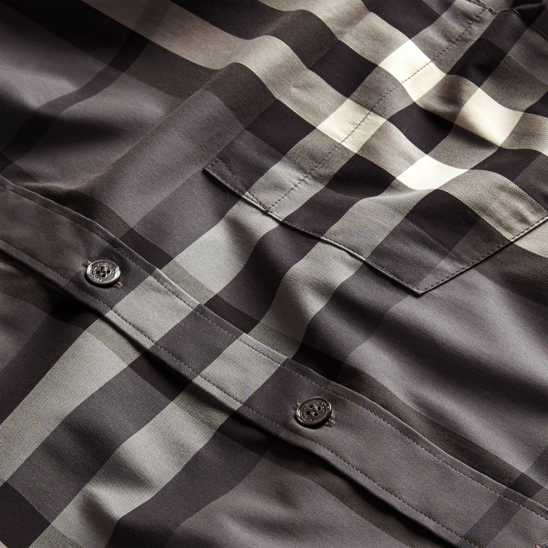 Check Stretch Cotton Shirt Charcoal - gallery image 2