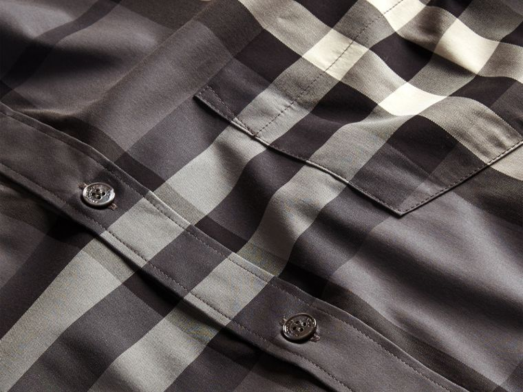 Check Stretch Cotton Shirt in Charcoal - Men | Burberry United States - cell image 1