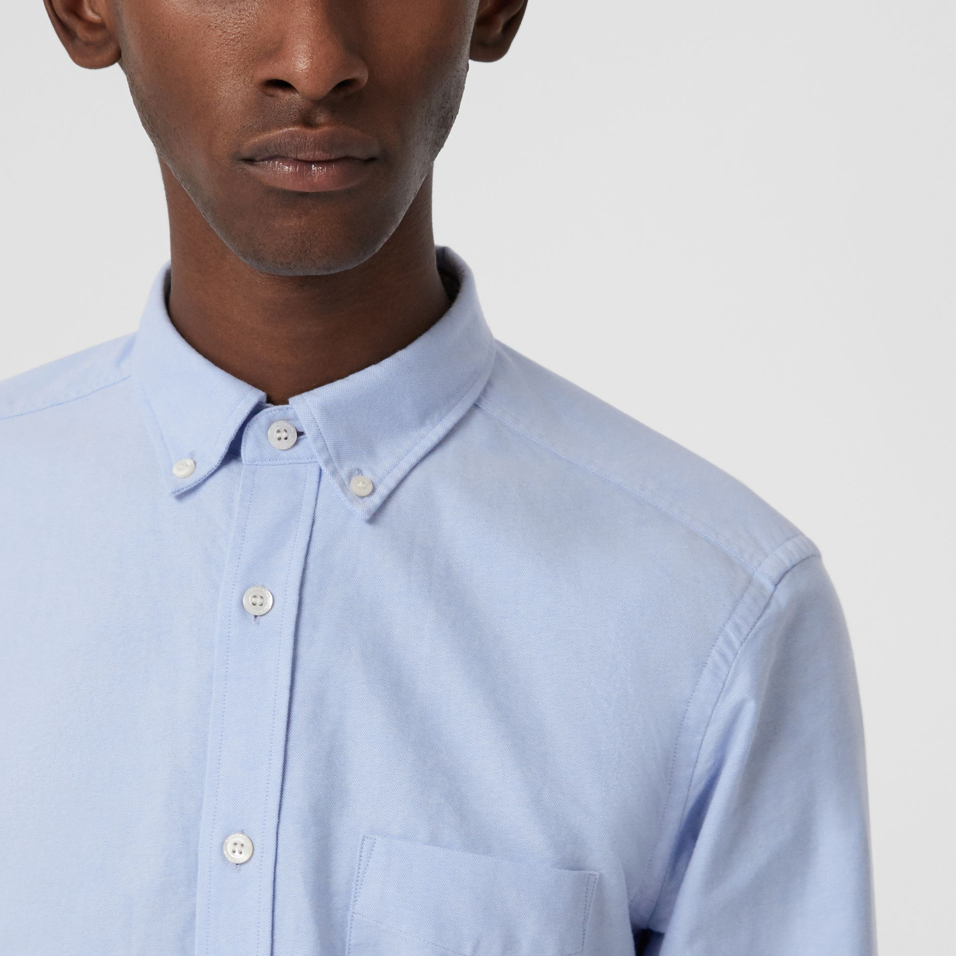 Check Cuff Cotton Oxford Shirt in Cornflower Blue - Men | Burberry United Kingdom - gallery image 1