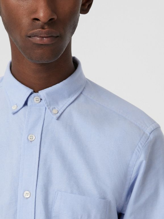 Check Cuff Cotton Oxford Shirt in Cornflower Blue - Men | Burberry - cell image 1
