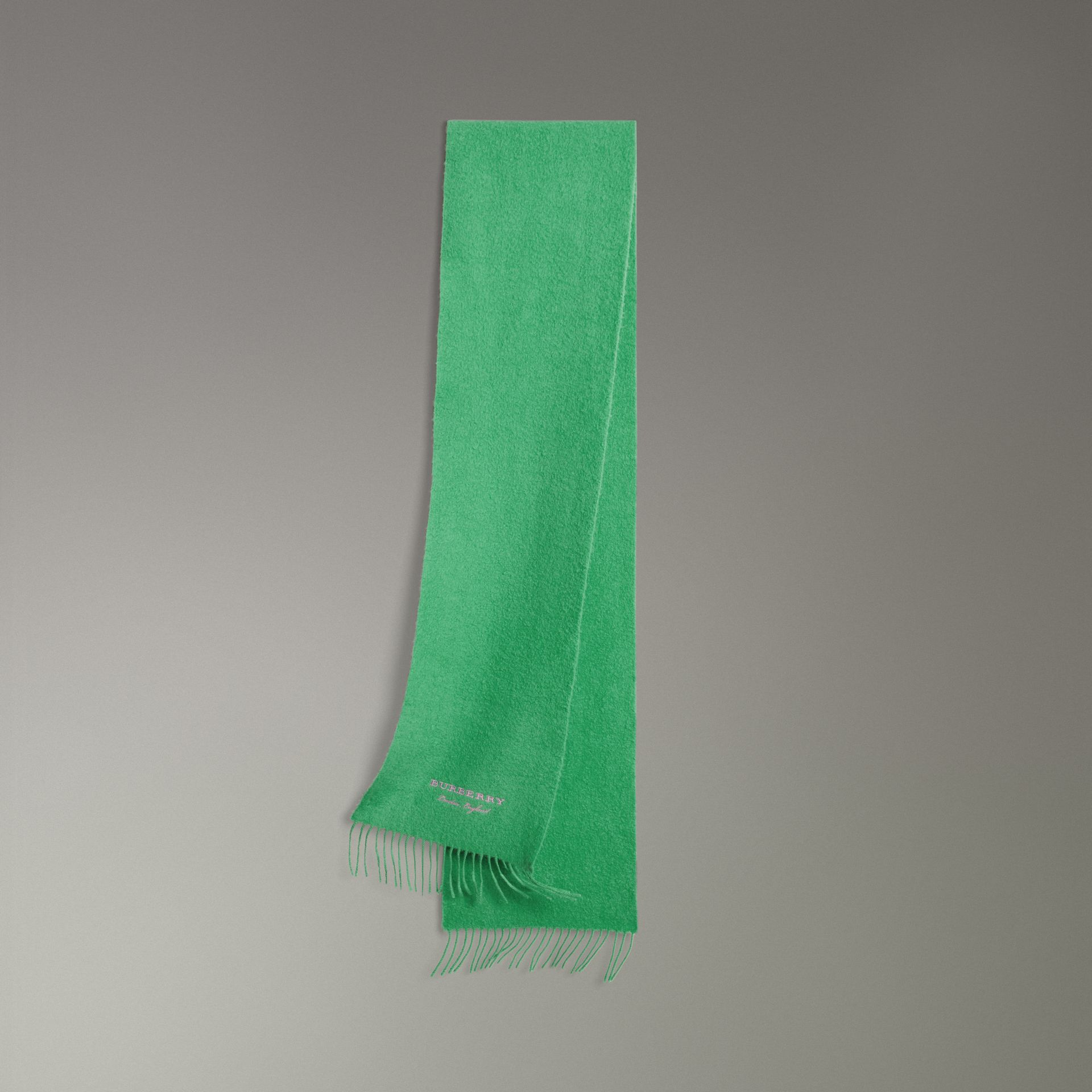 Embroidered Cashmere Fleece Scarf in Tourmaline Green | Burberry - gallery image 0