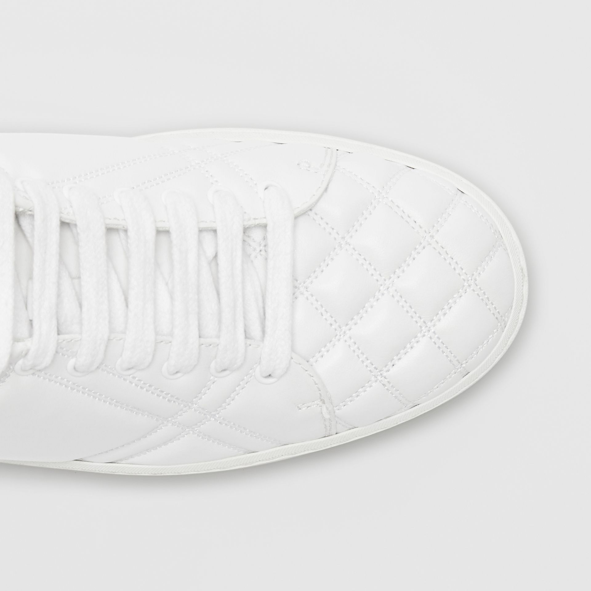 Check-quilted Leather Sneakers in Optic White - Women | Burberry United States - gallery image 1
