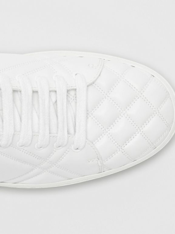 Check-quilted Leather Sneakers in Optic White - Women | Burberry United Kingdom - cell image 1
