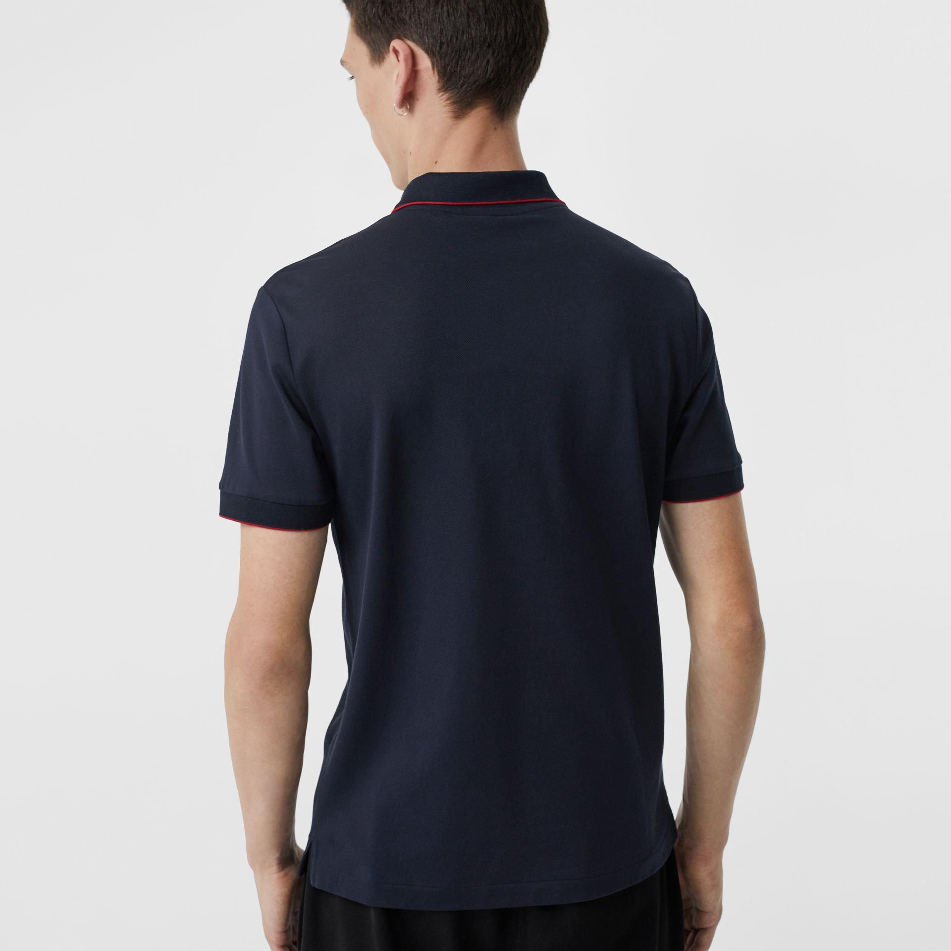 Tipped Cotton Piqué Polo Shirt in Navy - Men | Burberry - gallery image 2