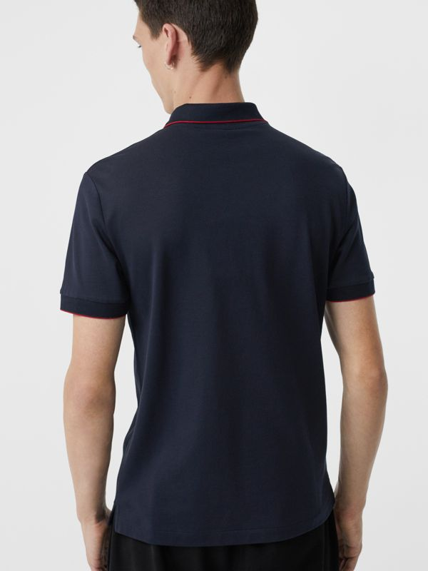 Tipped Cotton Piqué Polo Shirt in Navy - Men | Burberry - cell image 2