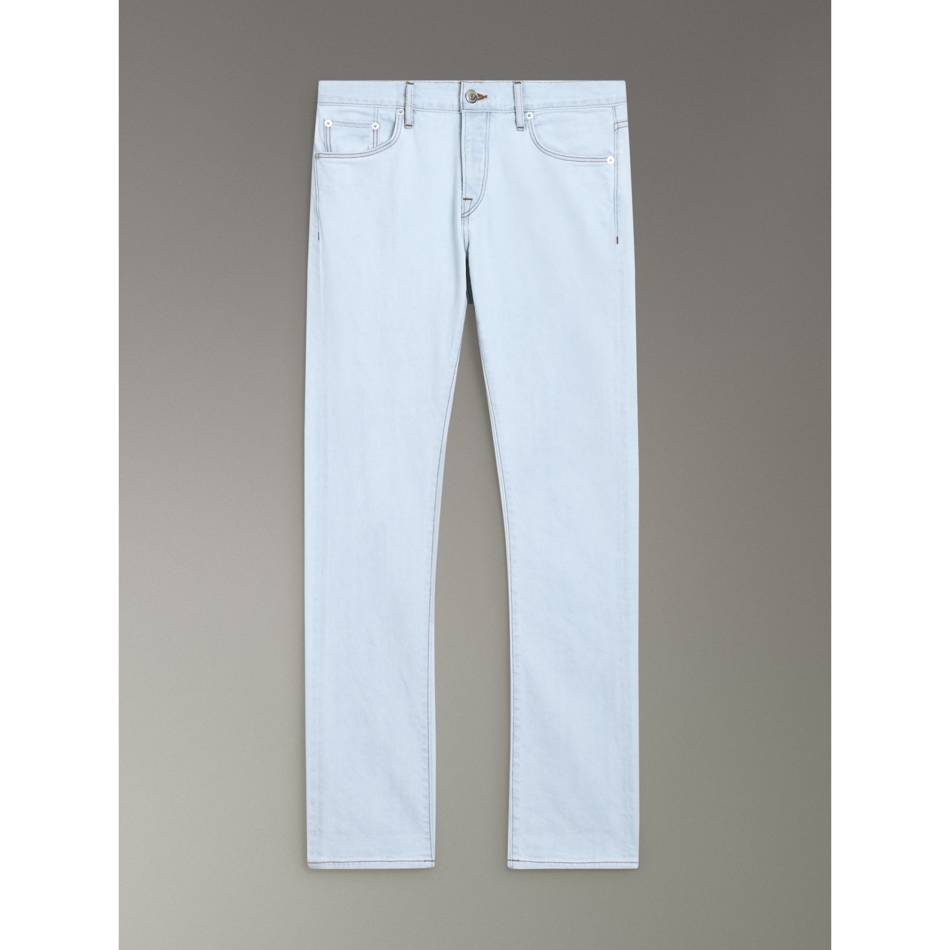 Straight Fit Bleached Japanese Denim Jeans in Ice Blue - Men | Burberry United States - gallery image 3