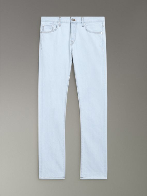 Straight Fit Bleached Japanese Denim Jeans in Ice Blue - Men | Burberry Hong Kong - cell image 3