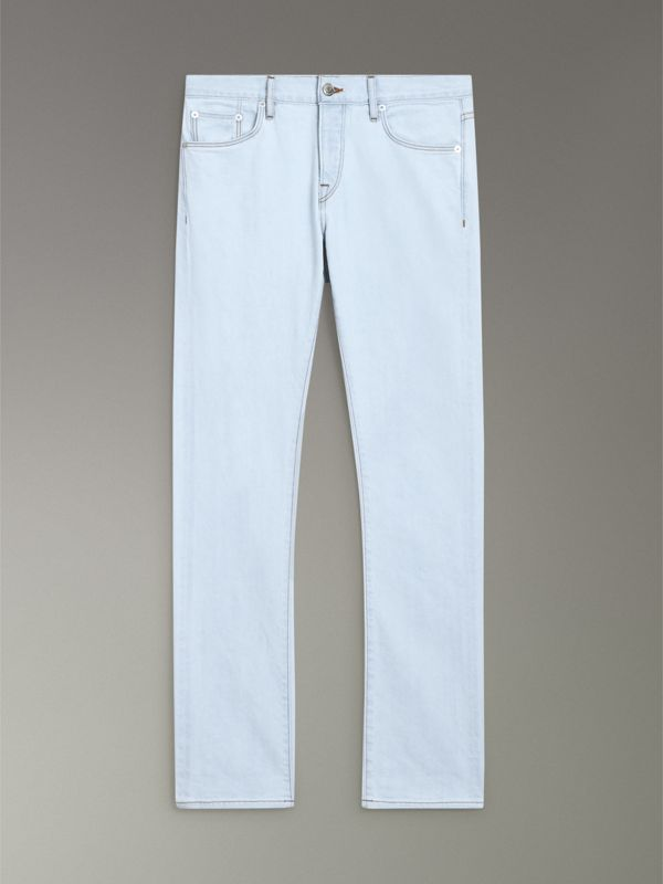 Straight Fit Bleached Japanese Denim Jeans in Ice Blue - Men | Burberry United States - cell image 3
