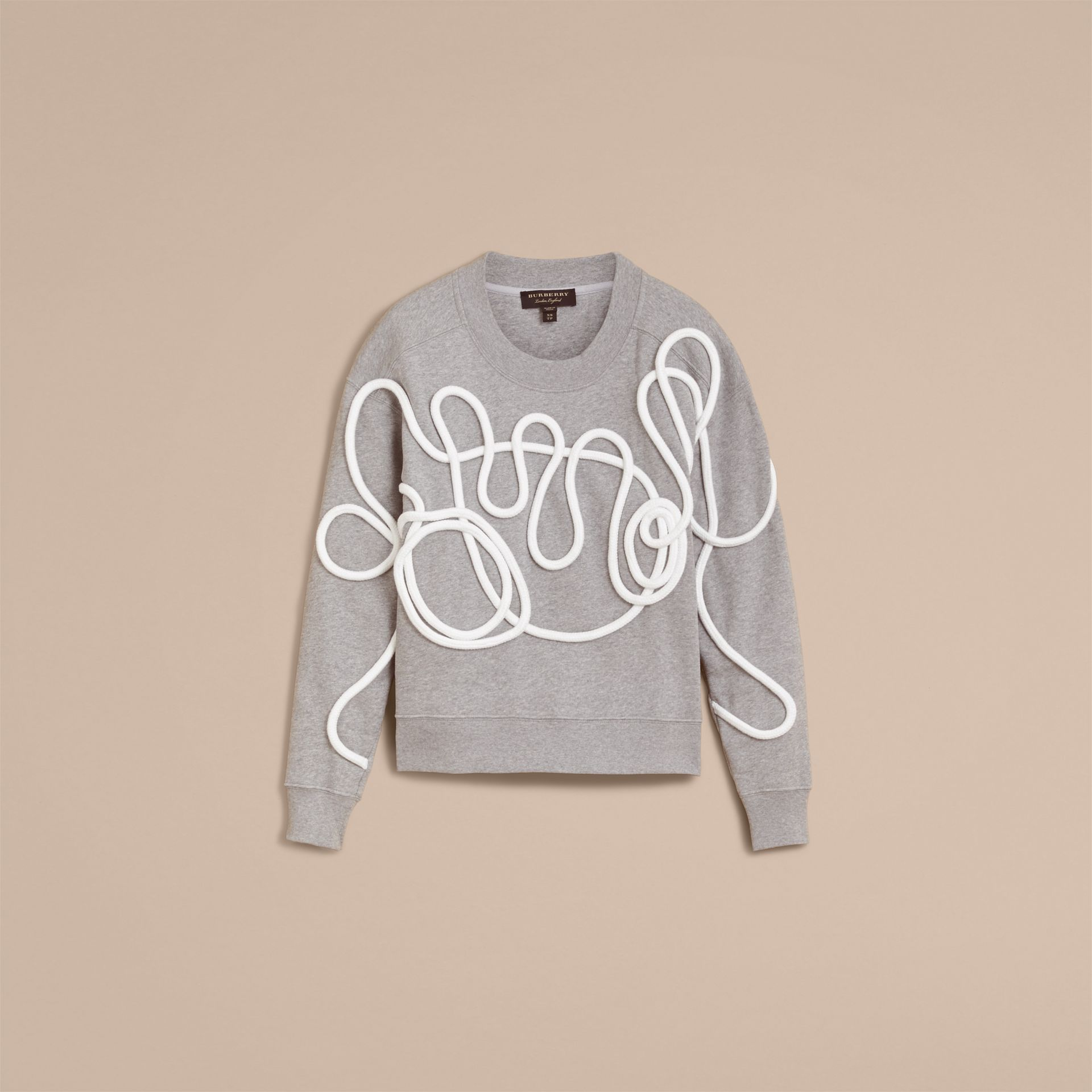 Unisex Brushed-back Jersey Sweatshirt with Rope Detail in Grey Melange - Women | Burberry - gallery image 3