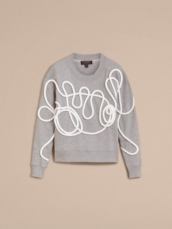 Unisex Brushed-back Jersey Sweatshirt with Rope Detail in Grey Melange - Women | Burberry - cell image 3