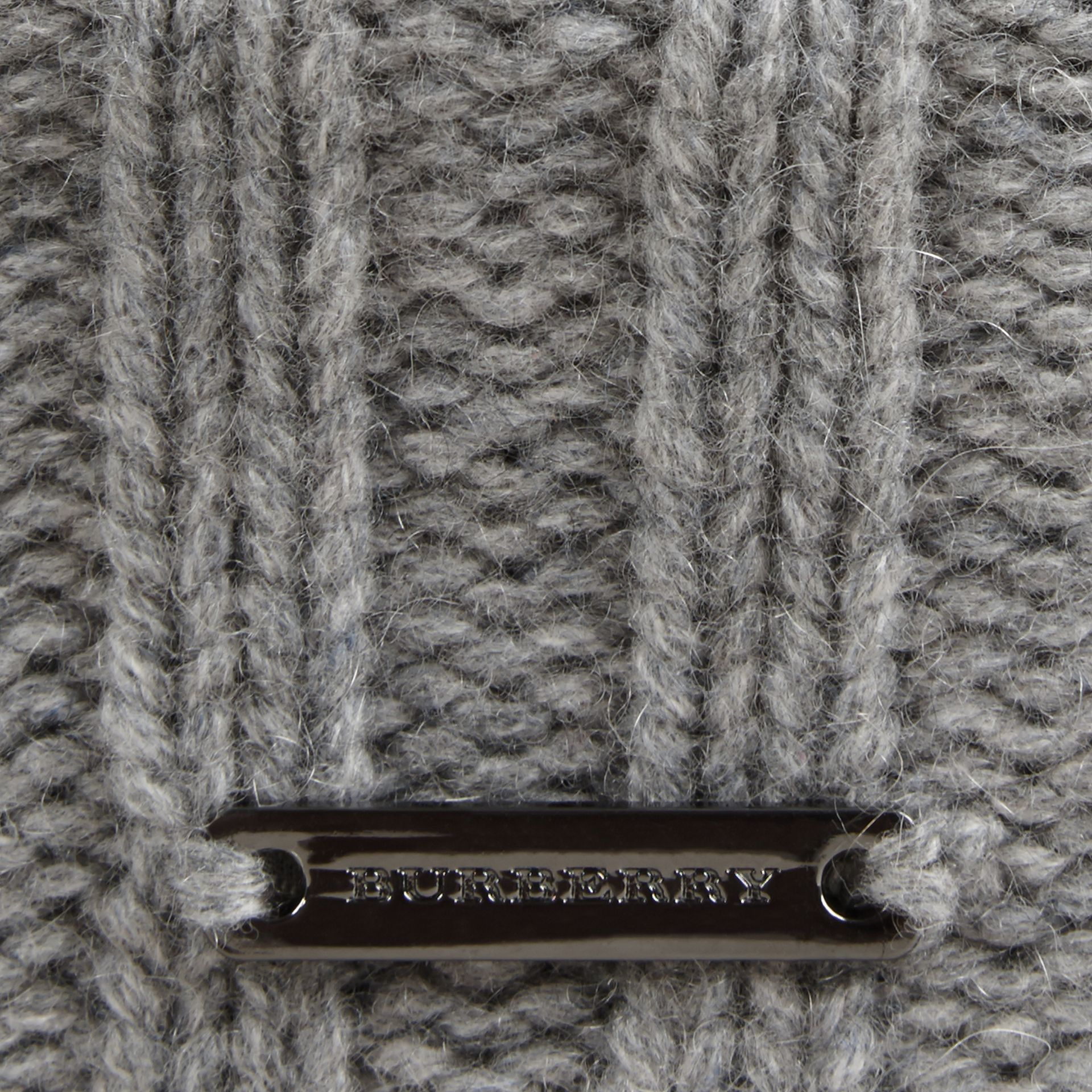 Fur Pom-Pom Beanie in Mid Grey - Women | Burberry - gallery image 2