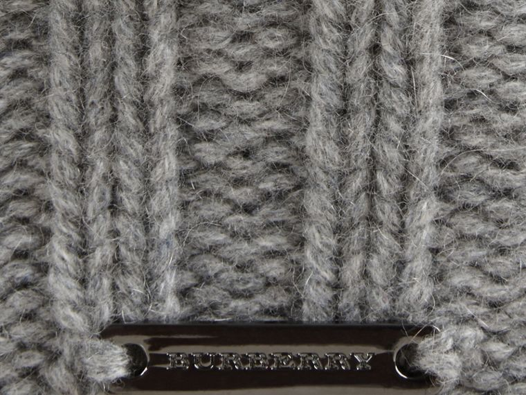 Fur Pom-Pom Beanie in Mid Grey - Women | Burberry - cell image 1