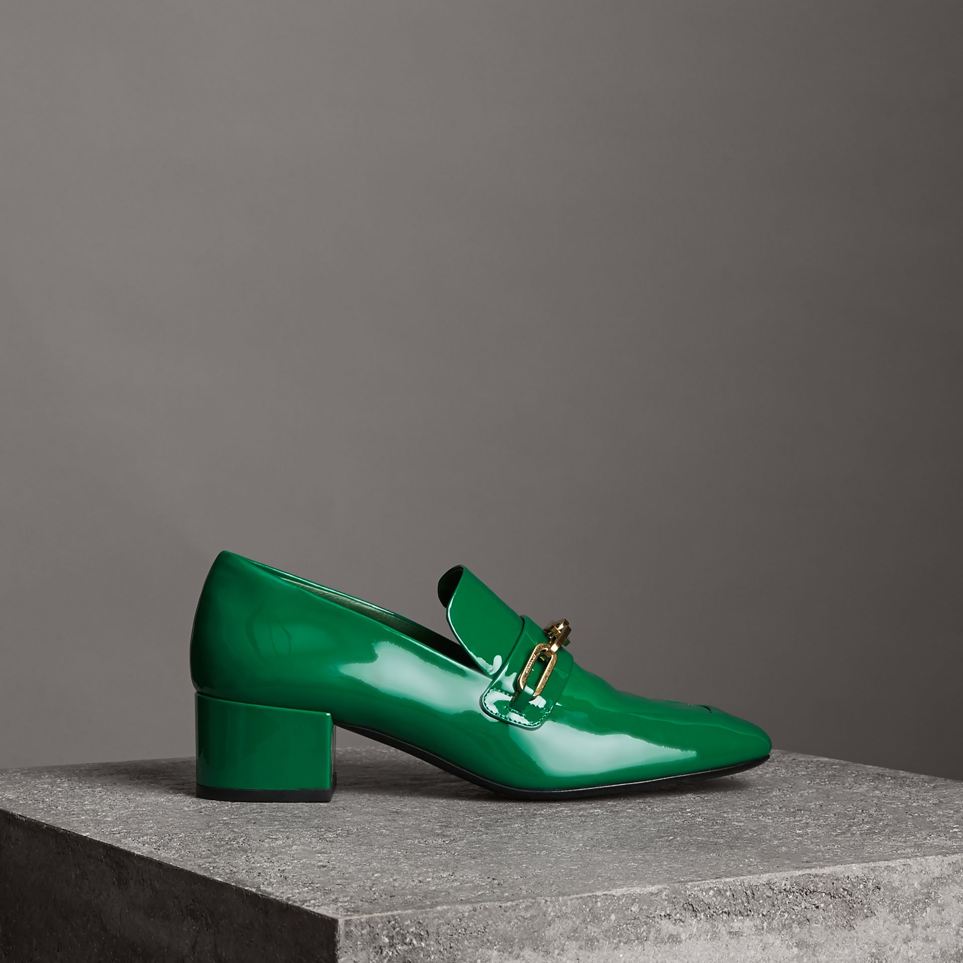 Link Detail Patent Leather Block-heel Loafers in Bright Pigment Green - Women | Burberry - gallery image 0