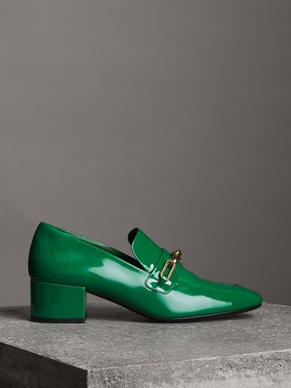 Link Detail Patent Leather Block-heel Loafers in Bright Pigment Green
