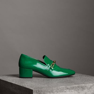 Link Detail Patent Leather Block-Heel Loafers in Green