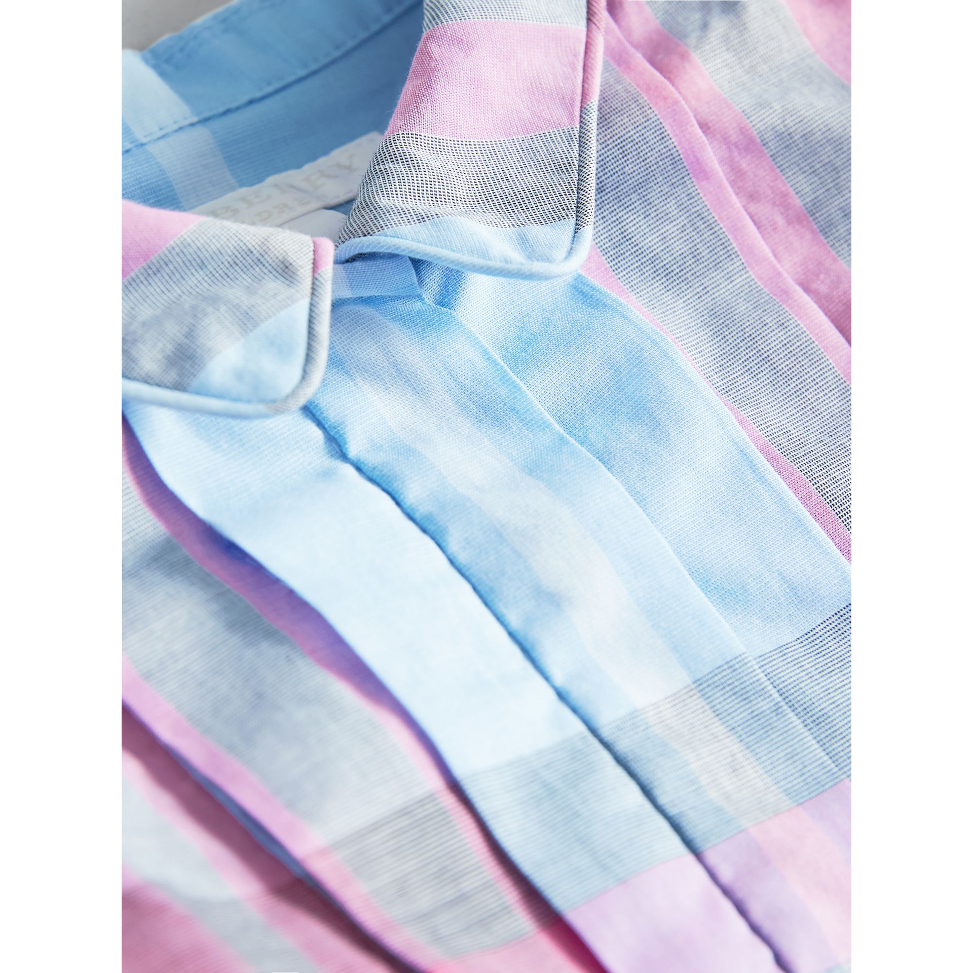 Pleated Bib Check Cotton Dress in Chalk Blue | Burberry - gallery image 1
