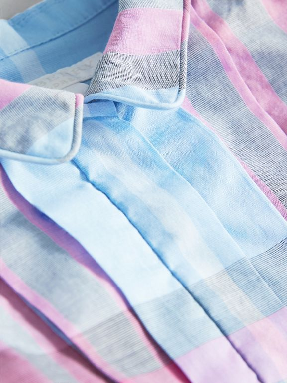 Pleated Bib Check Cotton Dress in Chalk Blue | Burberry - cell image 1