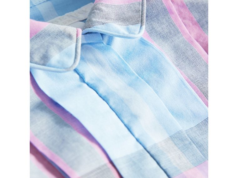 Pleated Bib Check Cotton Dress in Chalk Blue | Burberry United Kingdom - cell image 1