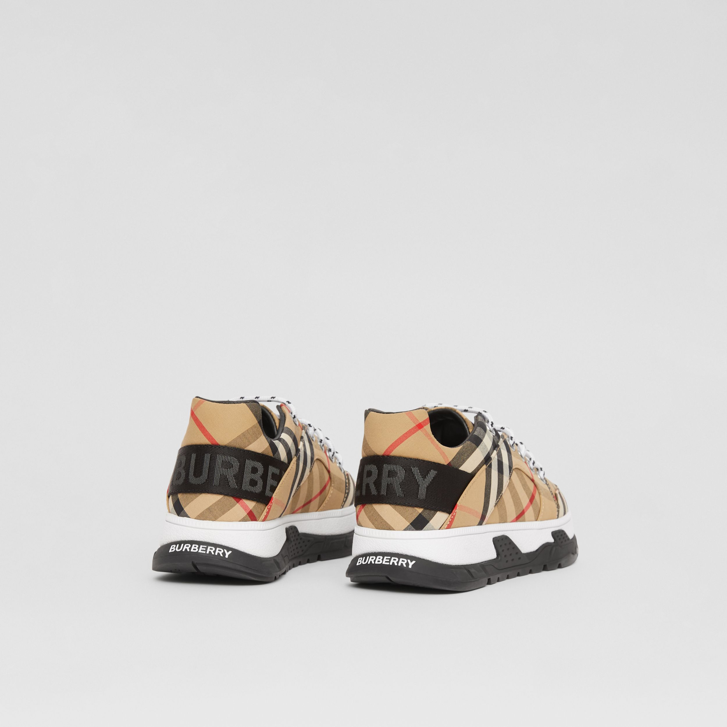 Logo Detail Vintage Check Cotton Sneakers in Archive Beige - Children | Burberry - 3