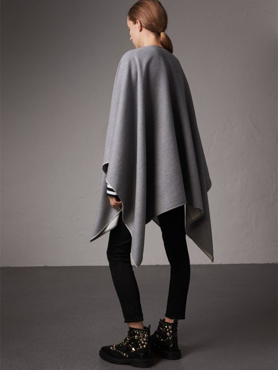 Reversible Check Merino Wool Poncho in Light Grey - Women | Burberry - cell image 2