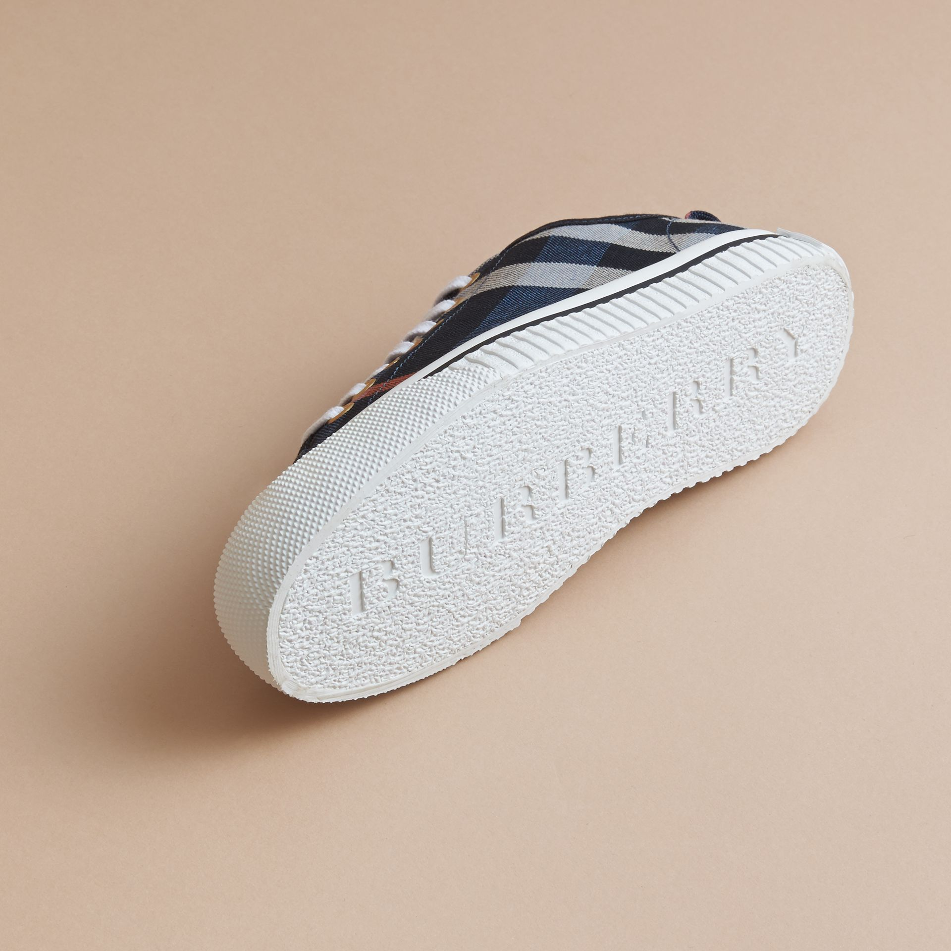 Check Linen Cotton Trainers in Ink Blue - Women | Burberry - gallery image 5