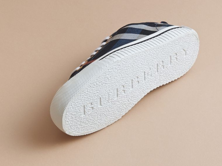 Check Linen Cotton Trainers in Ink Blue - Women | Burberry - cell image 4