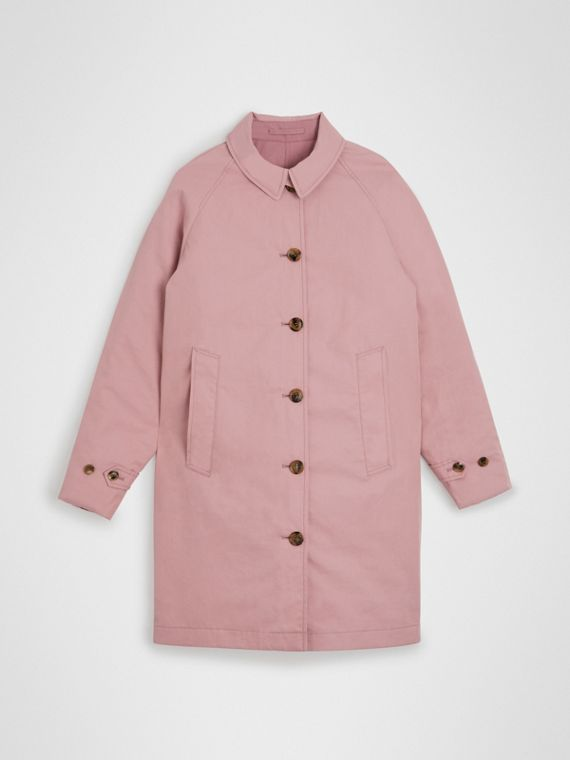 Car coat dupla face de gabardine tropical (Rosa Giz)