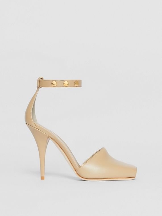 Triple Stud Leather Peep-toe Sandals in Honey