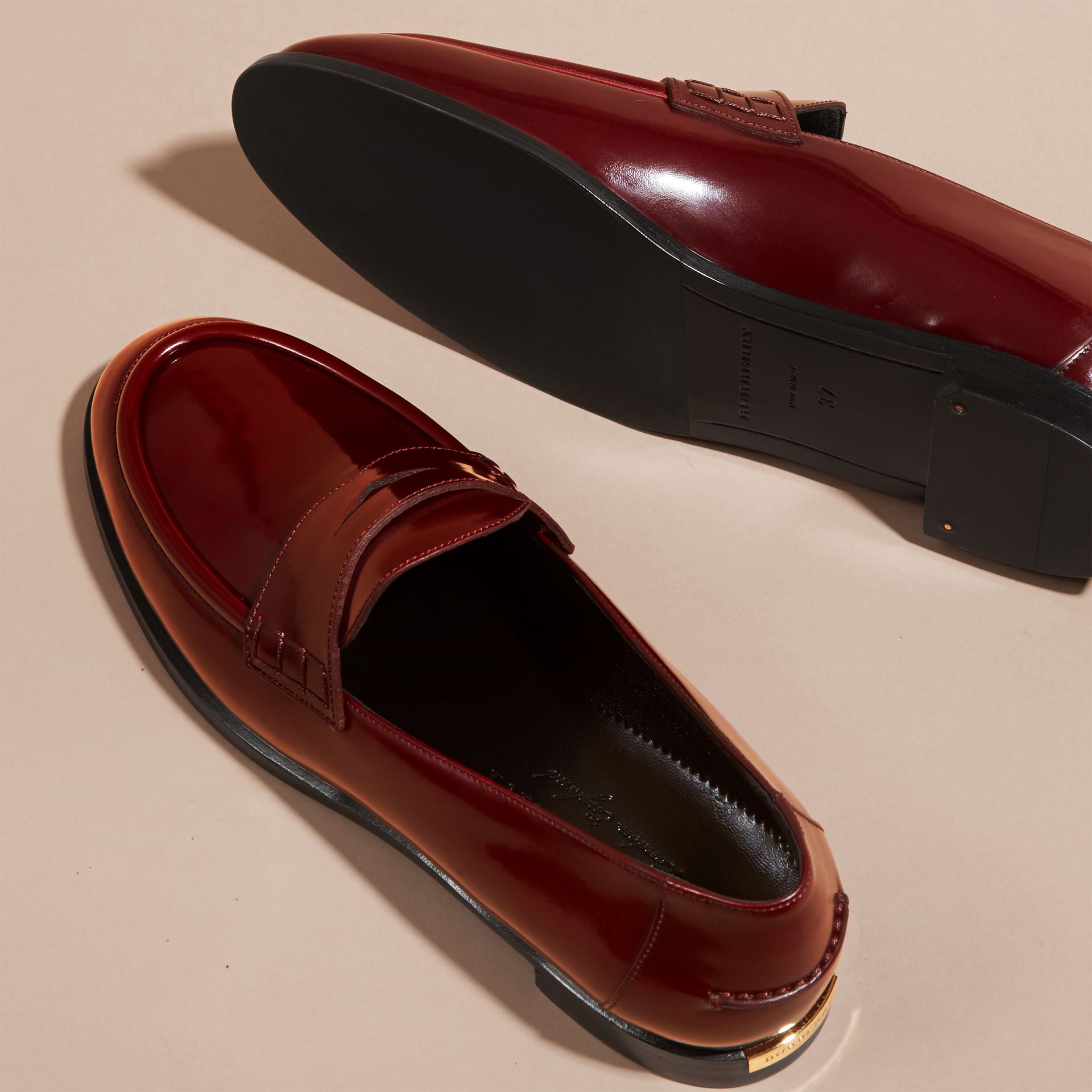 Mahogany red Polished Leather Loafers Mahogany Red - gallery image 5