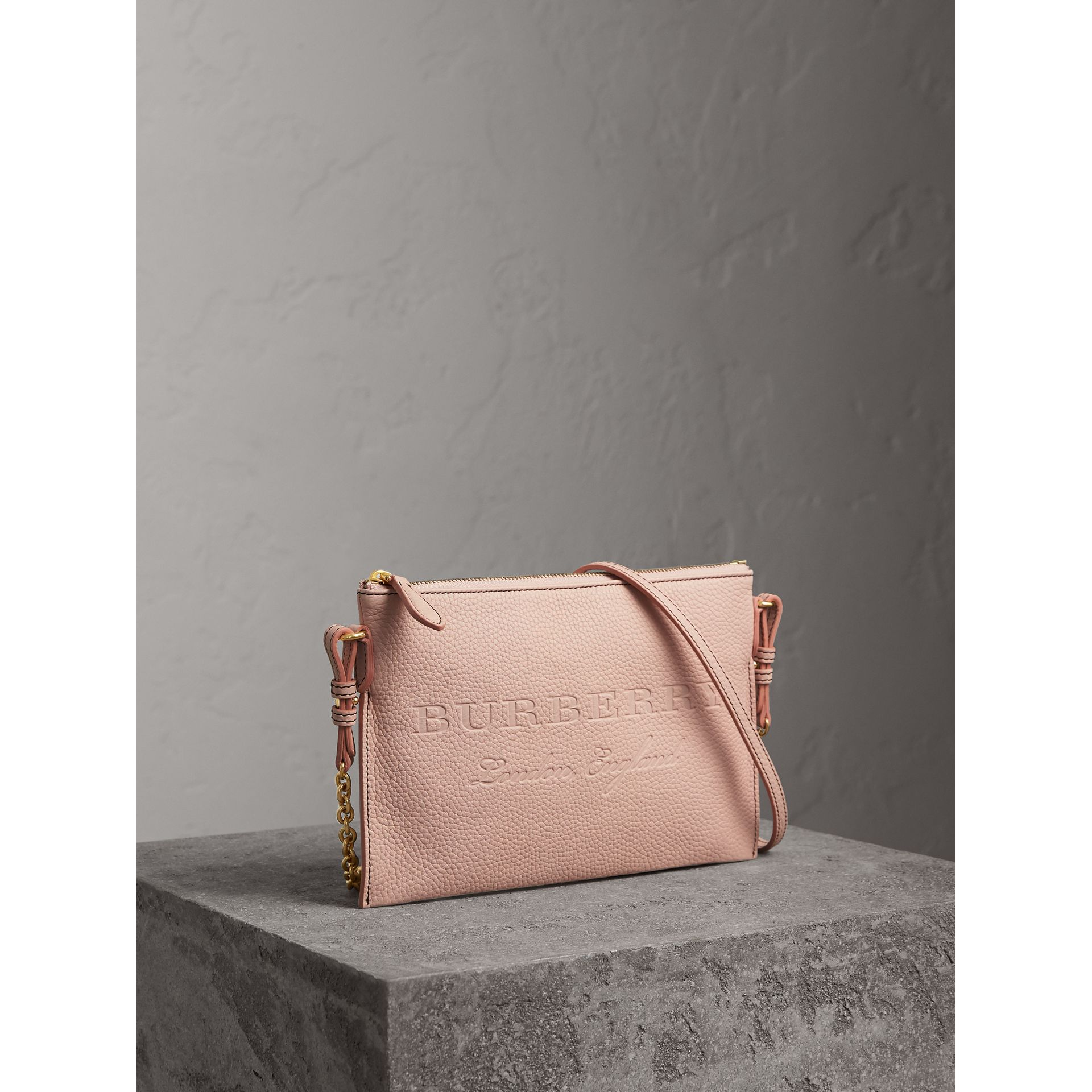 Embossed Leather Clutch Bag in Pale Ash Rose - Women | Burberry United Kingdom - gallery image 6