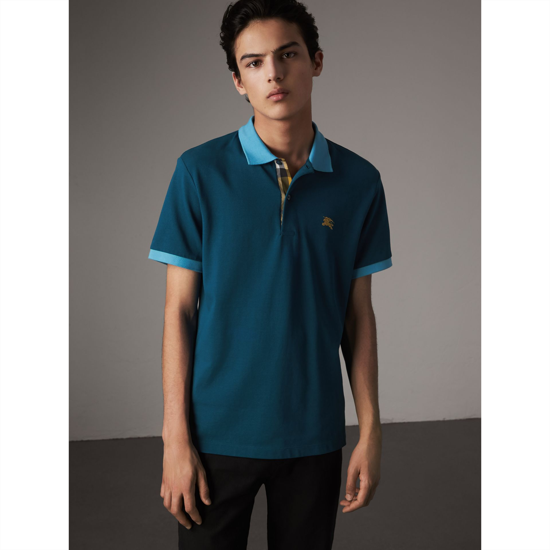 Two-tone Check Placket Cotton Piqué Polo Shirt in Mineral Blue - Men | Burberry - gallery image 5