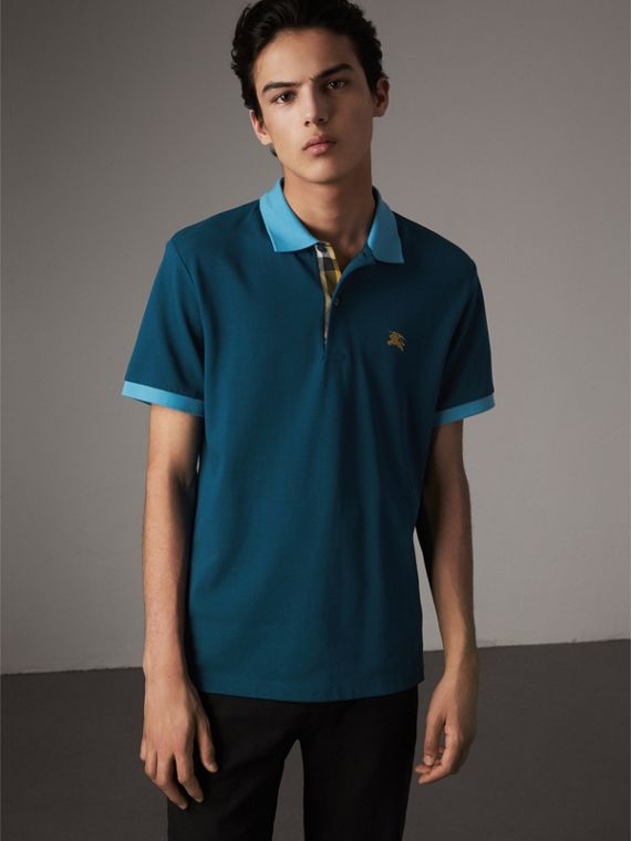Two-tone Check Placket Cotton Piqué Polo Shirt in Mineral Blue - Men | Burberry Australia